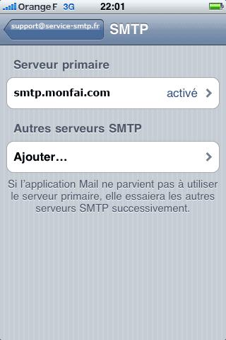 Serveurs SMTP iphone